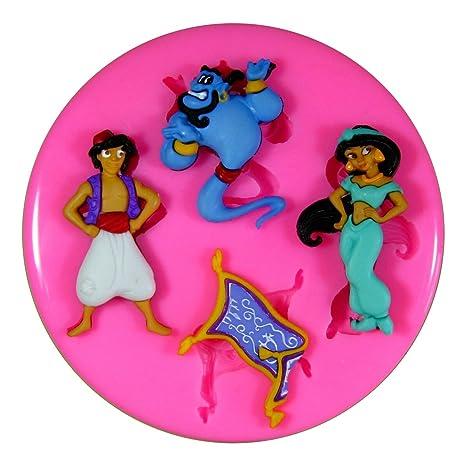 Aladdin Princess Jasmine y Genie Molde de silicona para la torta de Decoración Pastel de Cupcake