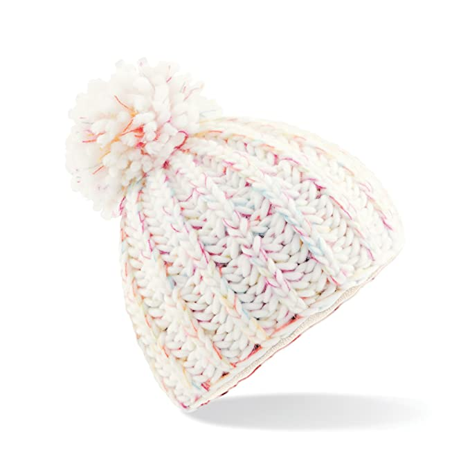 7a6693b4cec Beechfield Womens Ladies Aurora Pom Pom Beanie Hat (One Size) (Arctic  Horizon