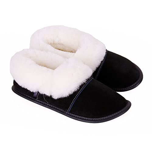 e79ba8bb730 Garneau Slippers Men s Lazybones Pitch Black Sheepskin And Suede Slippers  S  7.5 To 8.5
