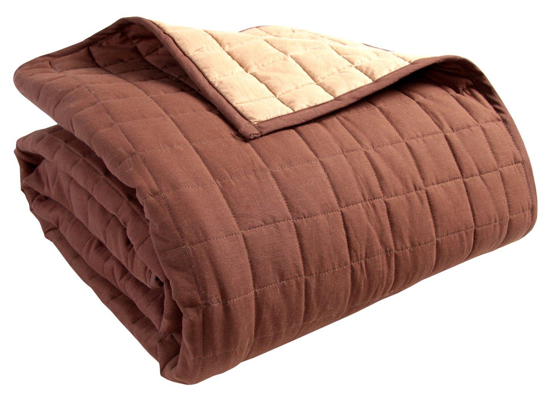 Homescapes waschbare Wende Tagesdecke Bettüberwurf Plaid mit Karo-Steppung, 230 x 250 cm aus 100% reiner Baumwolle mit Polyester Füllung in schokolade und nerzfarben