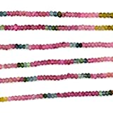 October birthstone natural multi tourmaline rondelle faceted calibrated 14 inch 1 strand beads for making jewelry