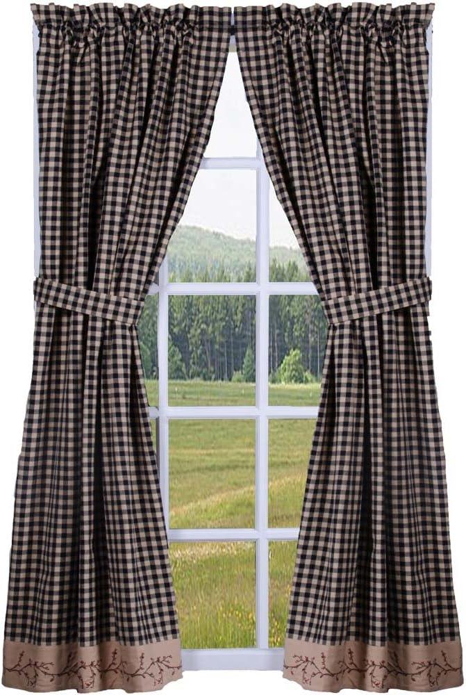 Primitive Home Decors Berry Vine Check Curtain Panels 63 Inch - Black