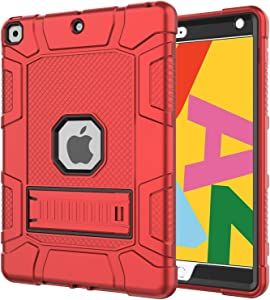 Grifobes iPad 8th Generation Case,iPad 7th Generation Case,iPad 10.2 Case,Slim Heavy Duty Shockproof Rugged High Impact Protective Case for iPad 10.2 inch 2020/2019 Release,Red
