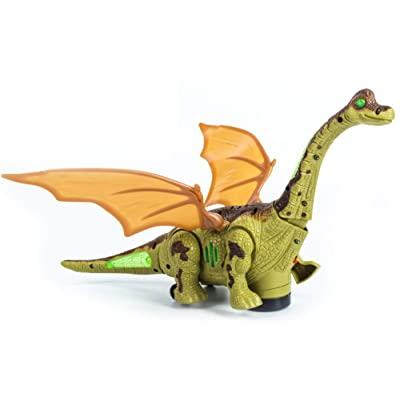 Mrocioa Electronic Dinosaur Toys Walking with Light up&Sound,Big Dino Action Figure 40cm Long for Toddler Boys,Shaking its Tail and Long Neck (Green): Toys & Games