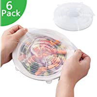 Silicone Stretch Lids Reusable Expandable【BPA Free】, 6 Pack TERSELY Eco-Friendly Silica Reusable Lids Food Saving Covers for Various Sizes Bowl Containers, Safe in Microwave and Freezer (Clear) in Microwave and Freezer (Clear)