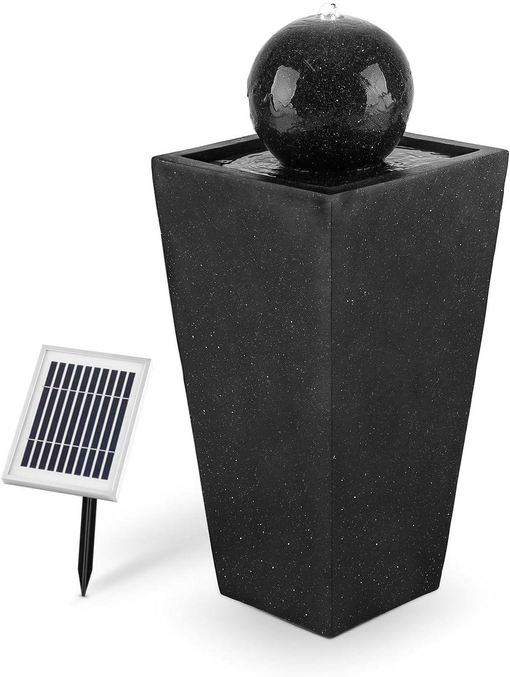 Blumfeldt Königsbrunn Fuente Solar esférica (Potencia Bomba 200 l/Hora, elevación Chorro hasta 80 cm, Luces LED, Carga batería energia Solar, 8 Horas, Interiores o Exteriores, Aspecto basalto)