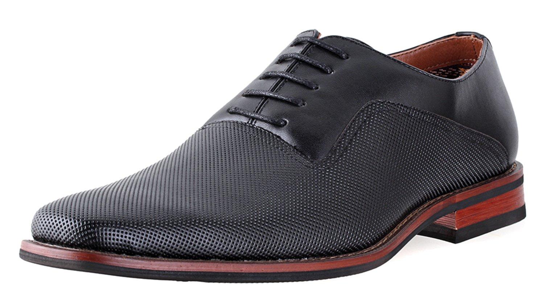 Ferro Aldo Mens Lalo Oxford Dress Shoes | Comfortable Dress Shoes | Formal | Lace-up | Classic Design | Black 10.5