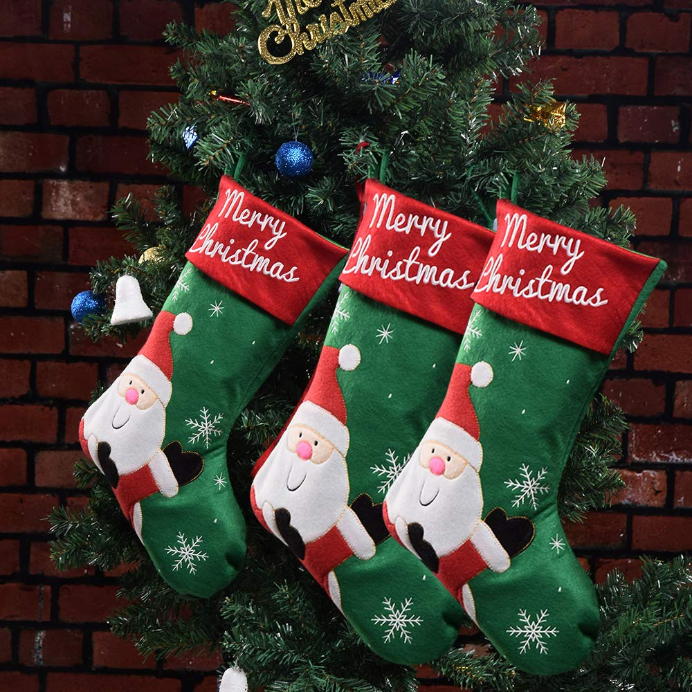 Lifeupmall Classic Christmas Stockings, Christmas Stockings Cute Santa & elk Gift Bags for Holiday Decorations and Gift Holder in (Green Oldman-3 Packs)