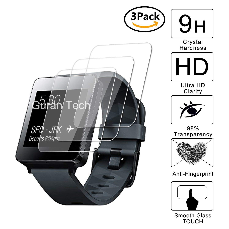 Guran [3-Unidades] Protector de Pantalla Vidrio Cristal Templado para LG G Watch W100 Smartwatch Cristal Vidrio Templado Film (9H, 2.5D Edge, 0.3mm)