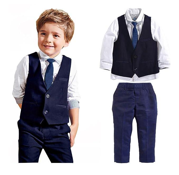 Carolilly Ensemble Costume Cravate Enfant Bébé Garçon 3 Pcs Chemise à Manches Longues + Pantalon + Gilet Mariage Fête Cérémonie (5 (4-5 Ans))