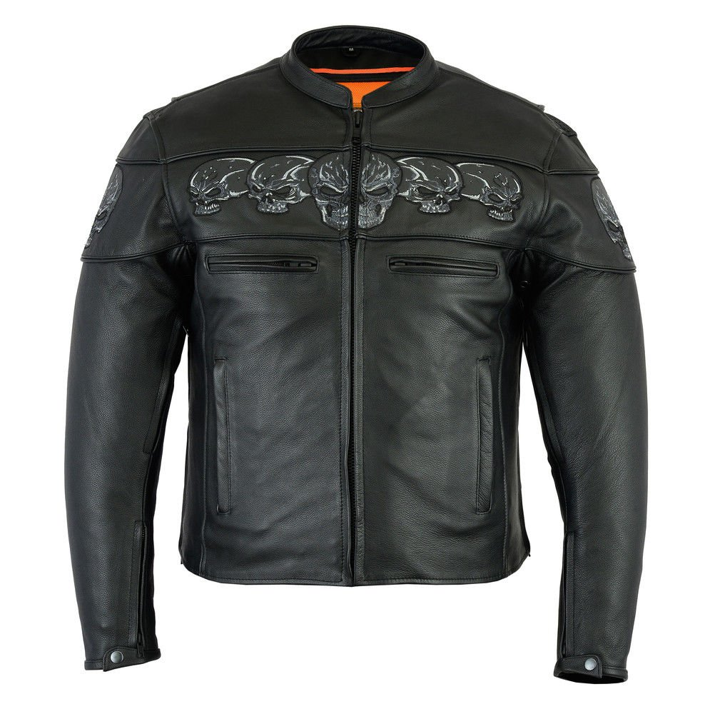 Daniel Smart Mens Motorcycle Riding Premium Heavy Duty Skull Leather Biker Visibility Jacket (3X Regular)