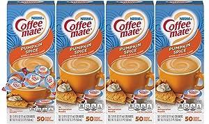 Nestle Coffee mate Coffee Creamer, Pumpkin Spice, Liquid Creamer Singles, Non Dairy, No Refrigeration, Box of 50 Singles (Pack of 4)