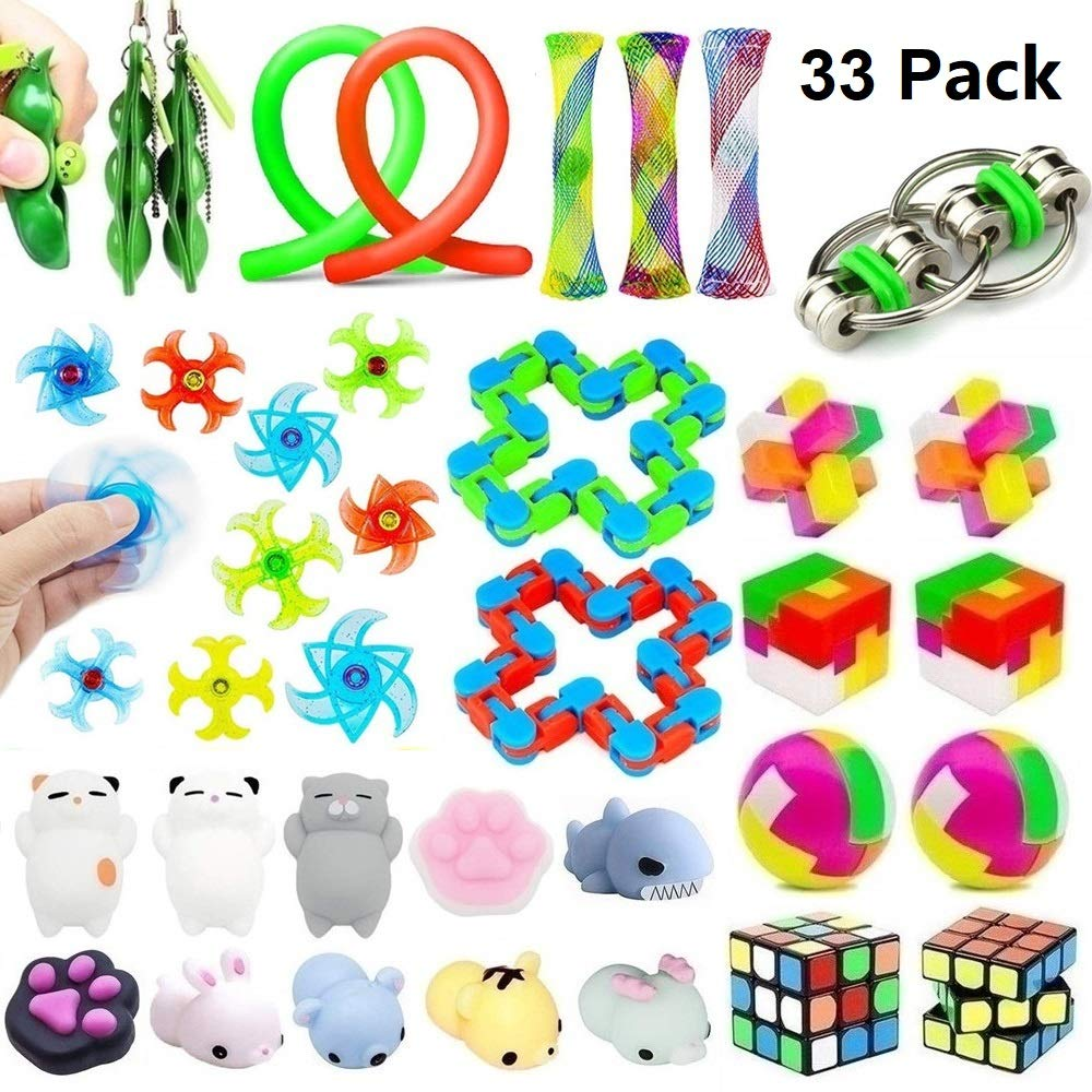 33 Pack Sensory Toys Set, Stress Relief Fidget Toys Pack for Adults Kids, Party Toys, Birthday Party Favors, Pinata Fillers, Classroom Rewards, Treasure Box Prizes, Carnival Game, Goodie Bag Fillers by Kunshion
