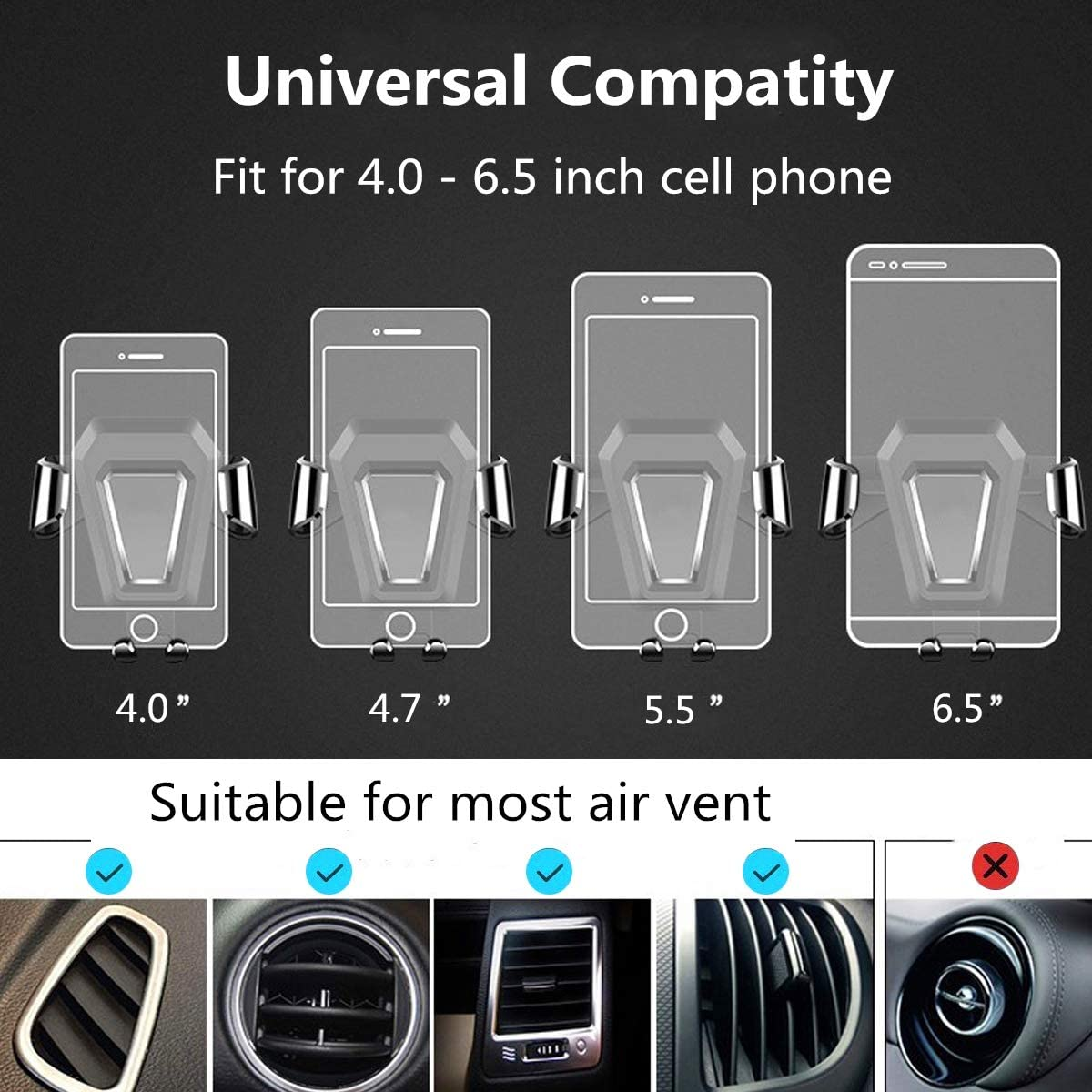 Gravity Automatic Clamping Universial Air Vent Car Phone Holder Cell Phone Car Mount Compatible with iPhone XR//XS Max//XS//X//8//8 Plus//,Galaxy S10//S10 Plus//S9//Note 9 and More IMIKE Car Phone Mount