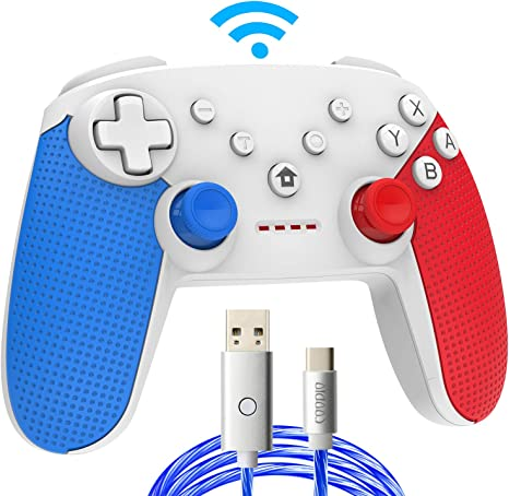 COODIO Mando Pro Para Nintendo Switch, Mando Inalámbrico Switch, Nintendo Switch Controller Gamepad Joystick + Type-C Cable de iluminación LED Para Nintendo Switch, Azul/Rojo: Amazon.es: Videojuegos