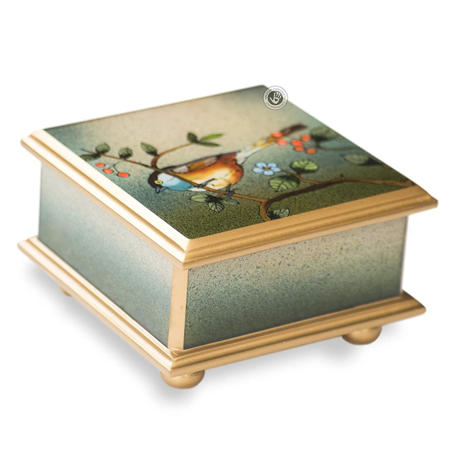 Reverse Painted Glass 3.9'x3.9' Box With Hinged Lid, Peruvian Jewelry box Handmade, Reverse Painting on glass, wood jewellery box, Gift for her'Baby Bird' Gift for herBaby Bird