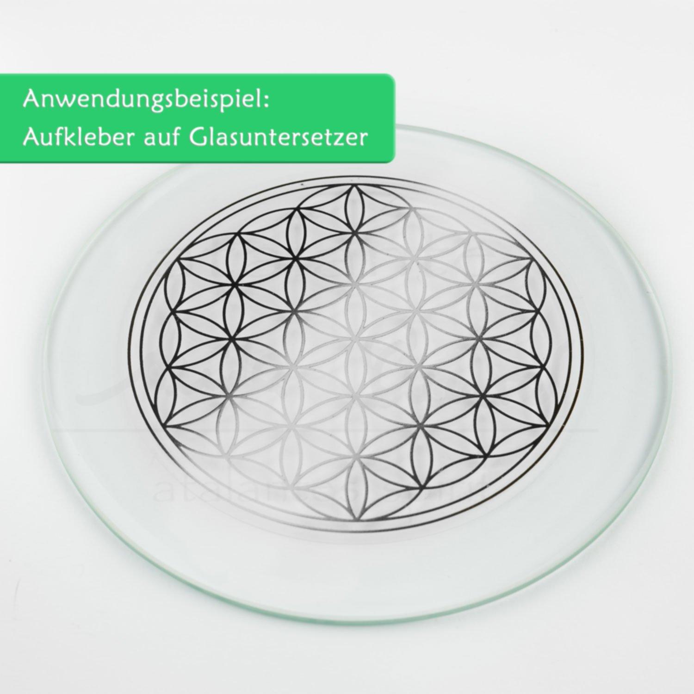 Farbe Silber Folie durchsichtig Sticker Lebensblume atalantes spirit Blume des Lebens Aufkleber 3cm 1 St/ück