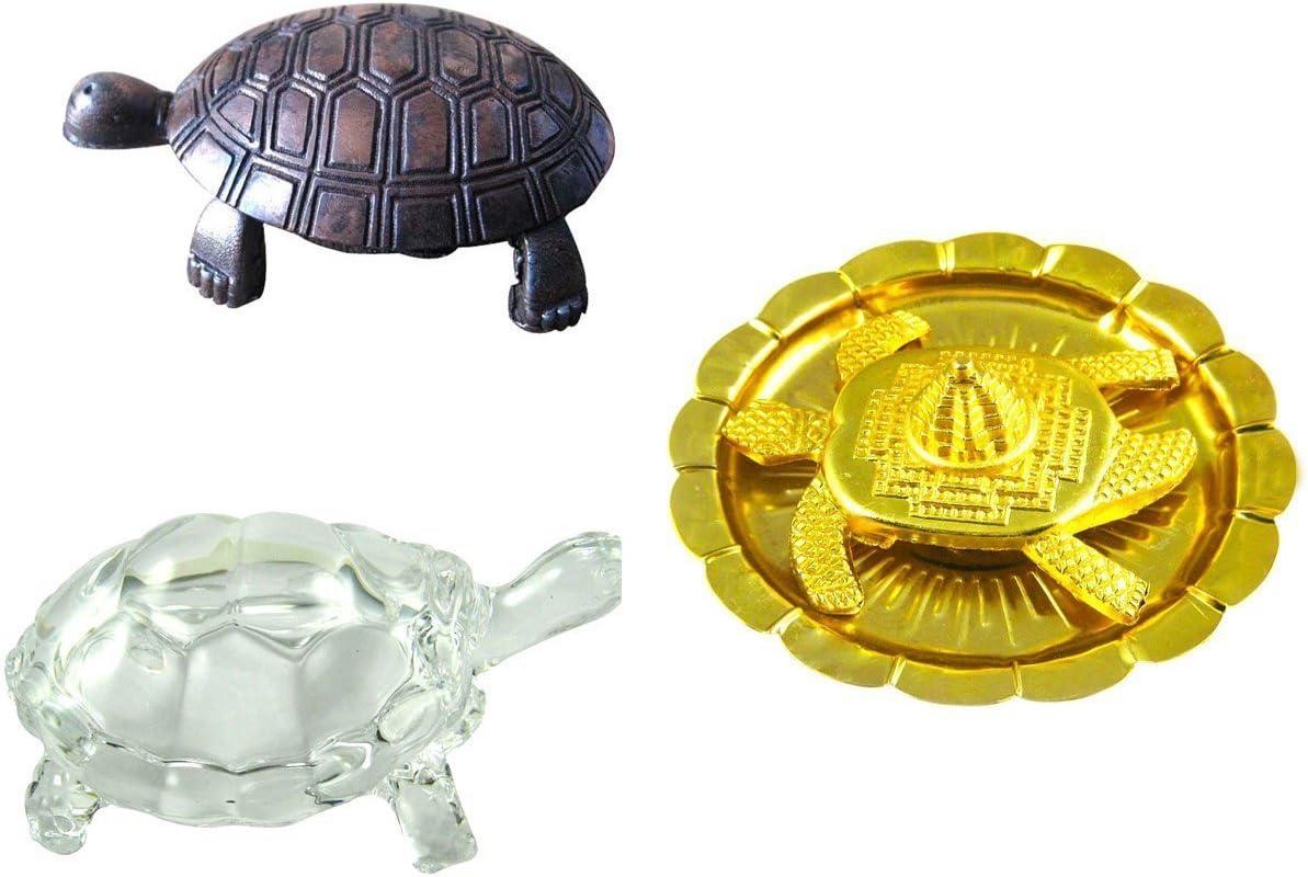 Odishabazaar vastu fengshui metal tortoise in plate + mata laxmi charan paduka + Free Rudraksha Bracelet Combo of 3