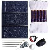 Sashiko kit | Yokota Sashiko Thread, Needles and Template Yume Fukin with Original English Manual, Thimble Sewing Set, Fabric, Japanese Textile White Thread/Navy Dishcloth