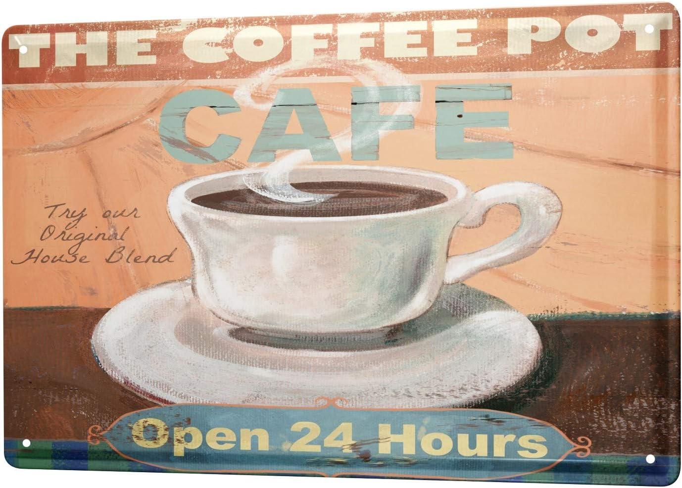 Blechschild Fun Küche große Tasse Kaffee