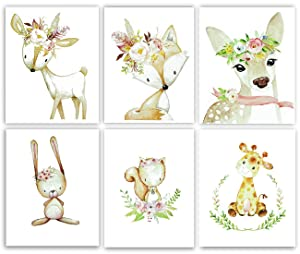 Gawell Baby Cartoon Theme Nursery Decor Pictures, 6 Pack Animals Nursery Wall Art with Watercolor Printer Poster for Baby Boys Girls Kids Bedroom Living Room Bathroom-Unframed