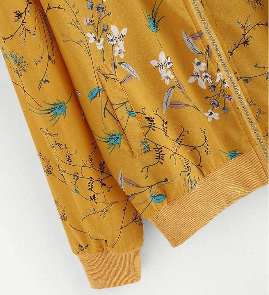 Womens Autumn Coat Floral Print Zipper Bomber Jacket Outwear Sports Blouse