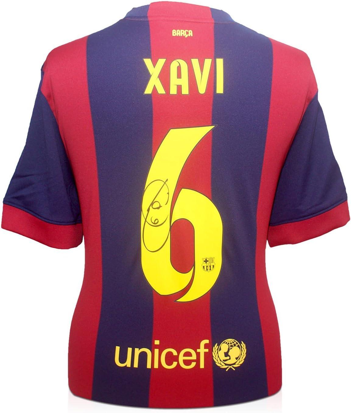 exclusivememorabilia.com 2014-15 de Barcelona Camiseta de fútbol firmada por Xavi Hernández: Amazon.es: Juguetes y juegos