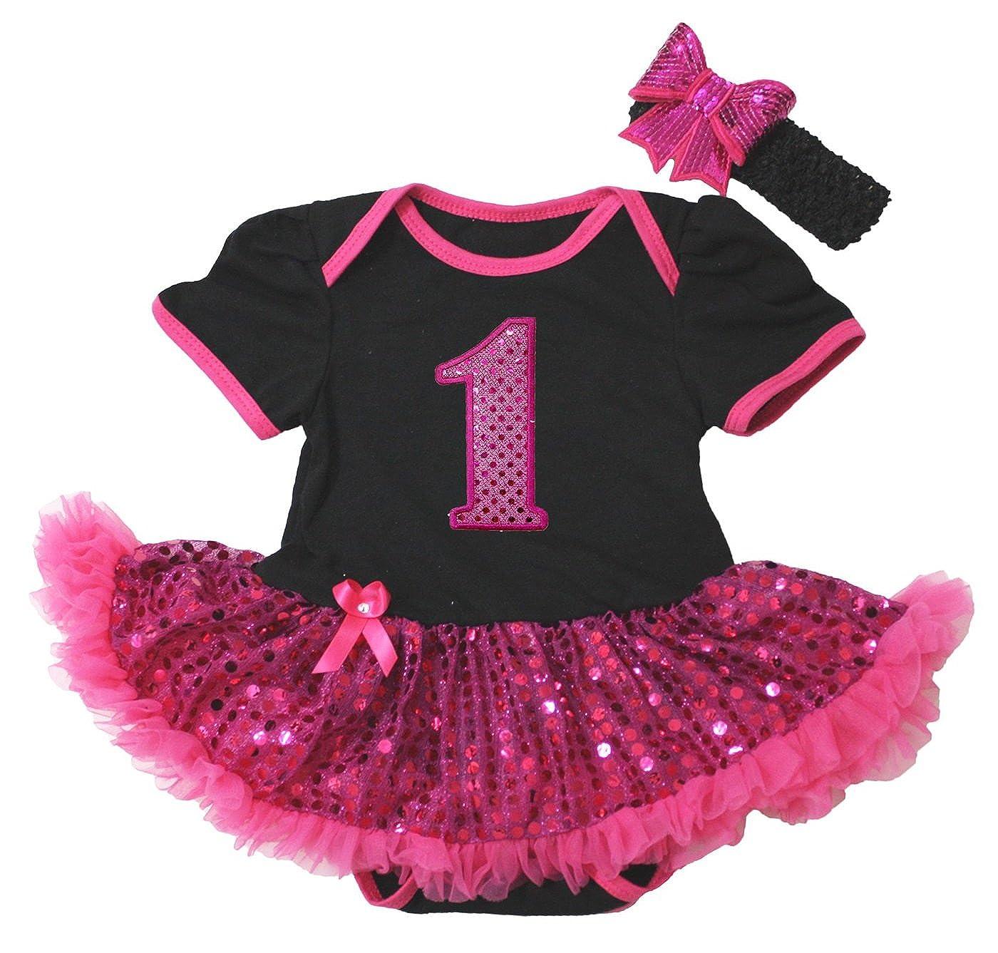 Bling 1st Birthday Black Bodysuit Hot Pink Sequins Girl Cloth Baby Dress Nb-18m JT060