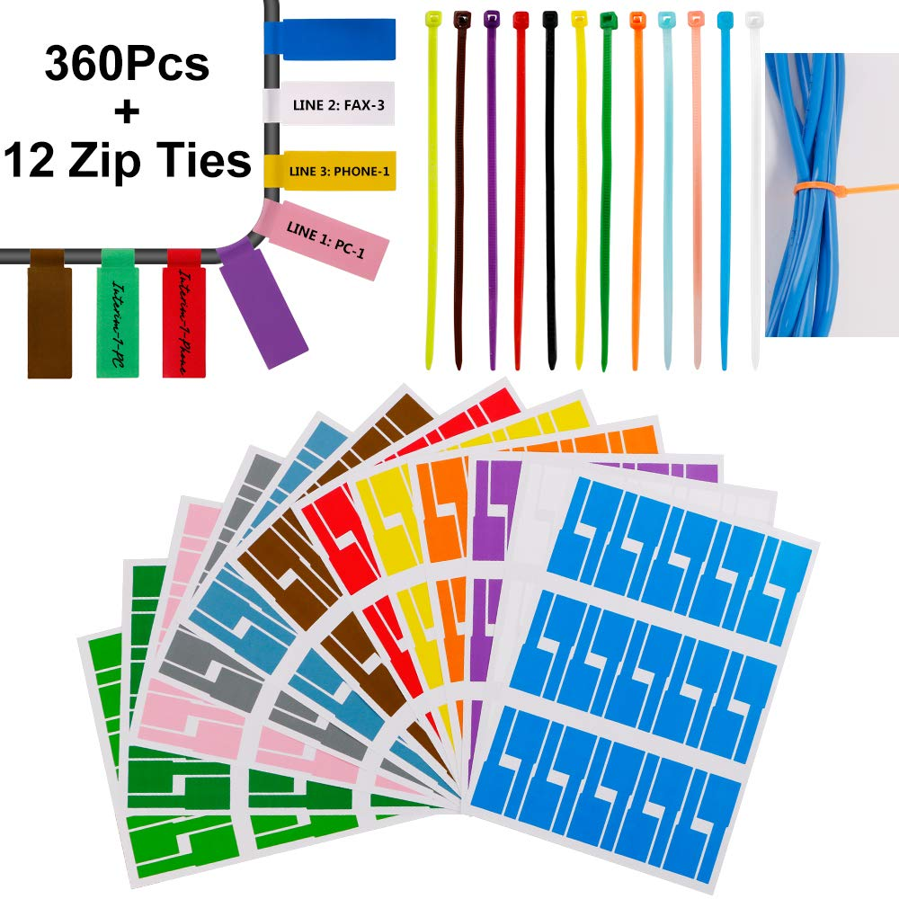 360 Pcs Cable Tags Cable Labels Stickers Waterproof Cable Markers Printable and Handwriting Cable Organizer, with 12 Nylon Wire Straps 12 Assorted Color … Five-of-Five