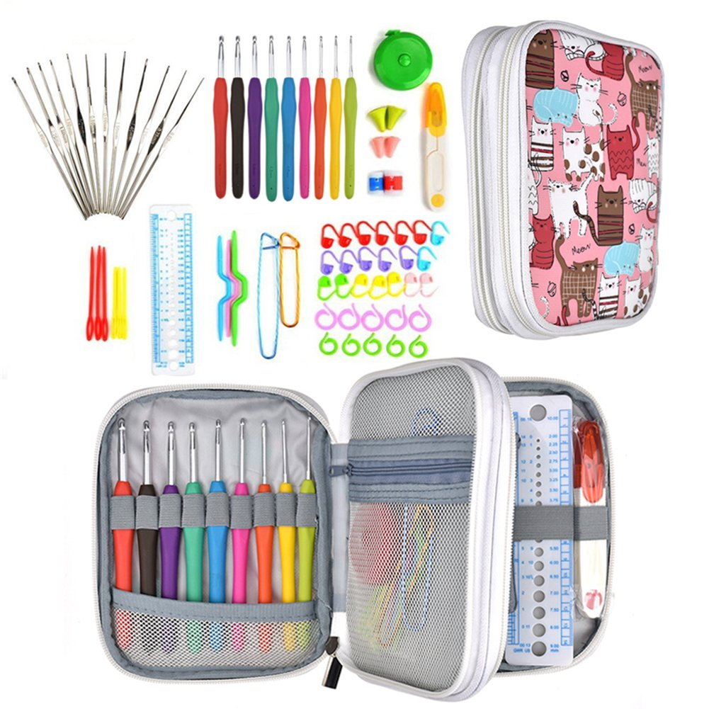 PROKTH Crochet Hooks Set with Case, 72PCS Full Set Knitting Needle Weave Yarn Kit Ergonomic Handle Weaving Accessories for Beginners Experienced Crocheters Blue