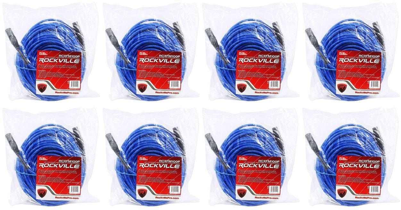 8ロックビルrcxfm100p-blブルー100 'メスtoオスREAN XLRマイクケーブル100 %銅 B01N2G225V