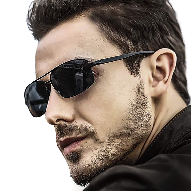 LVIOE Hombres Polarizadas Gafas De Sol Rectangulares Marco De Metal Protección 100% UVA & UVB