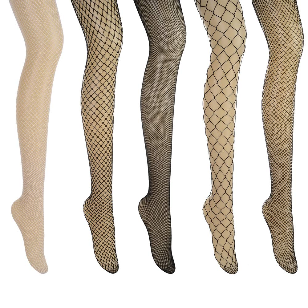 Aeakey Fishnet Stockings High waisted Tights Thigh-high Stockings Pantyhose 5 pack (black)