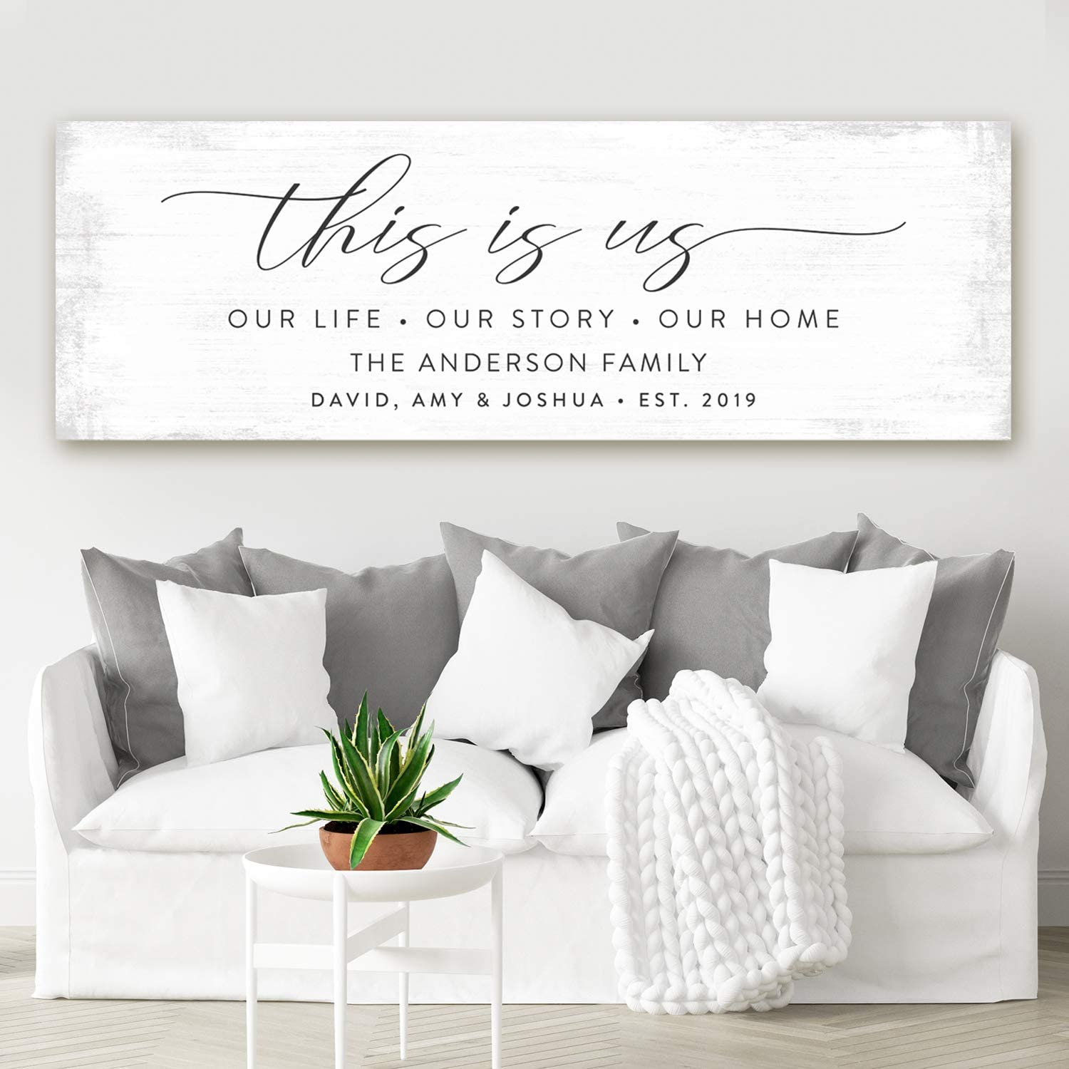 Pretty Perfect Studio Custom This Is Us Sign Personalize Family Names On Canvas Wall Art 20 X 60 Ready To Hang Print Posters Prints