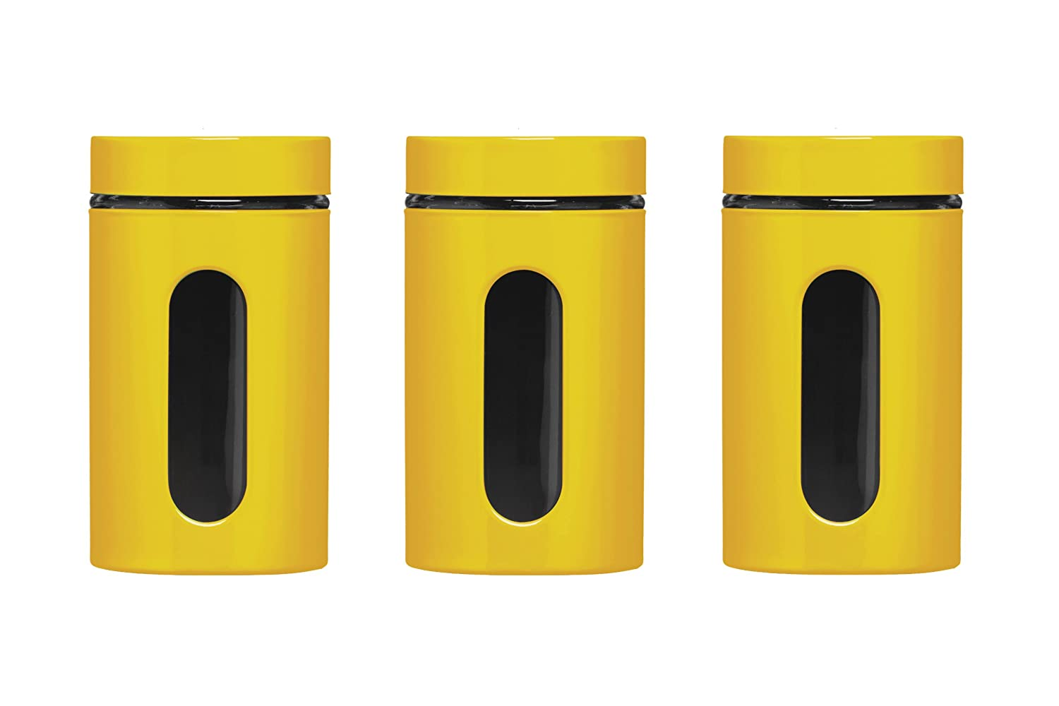 Premier Housewares Storage Canisters   Yellow, Set Of 3: Amazon.co.uk:  Kitchen U0026 Home