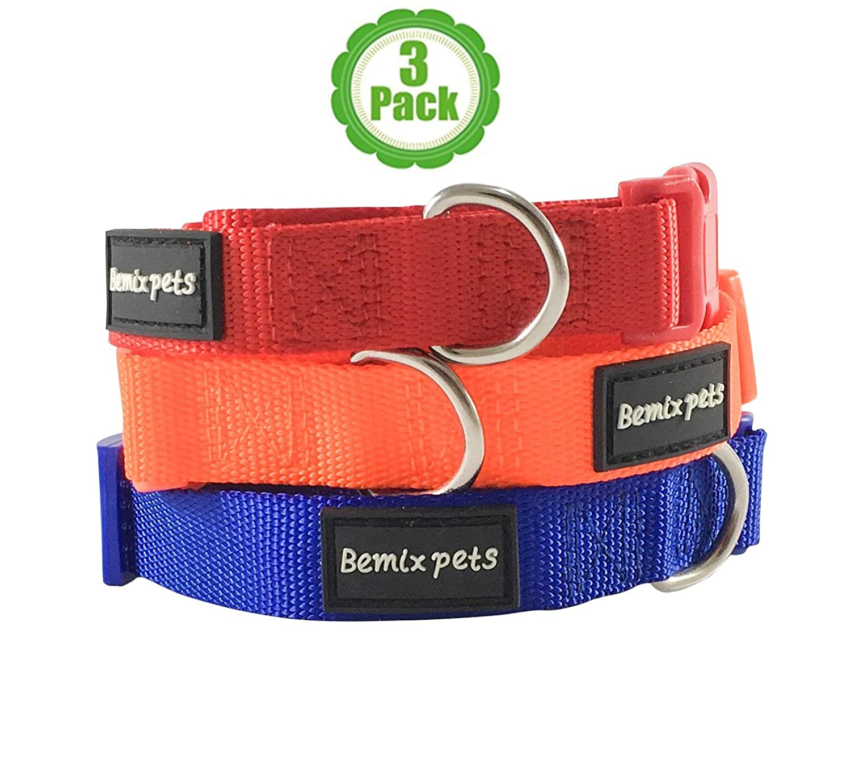 Large Bemix Pets Dog Collar, Set of 3, Classic, Dog Collar Gift Box, Solid, Nylon Dog Collar, colors  orange, bluee, Red (Large)