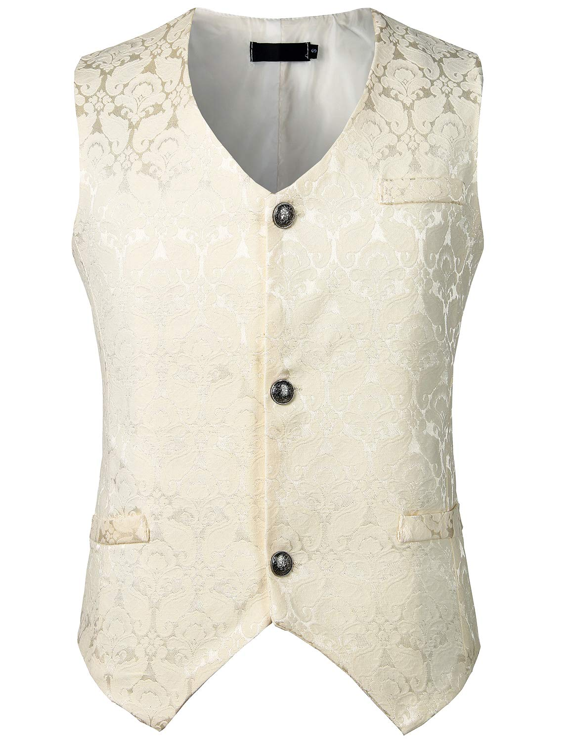ZEROYAA Mens Single Breasted Vest Gothic Steampunk Victorian Brocade Waistcoat 3