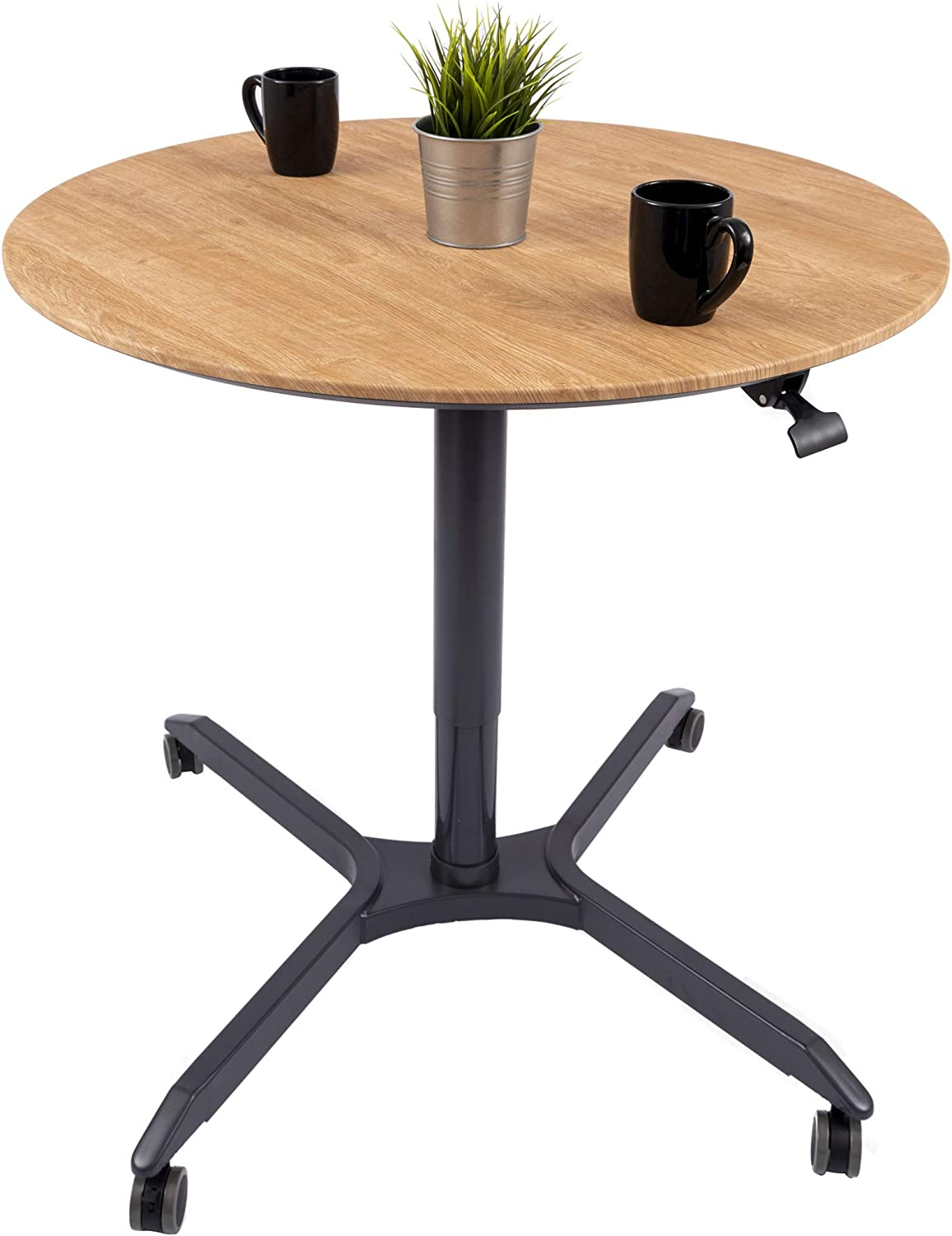Pneumatic Adjustable-Height Cafe Table Breakroom Table – 35 , Charcoal Frame White Oak Top