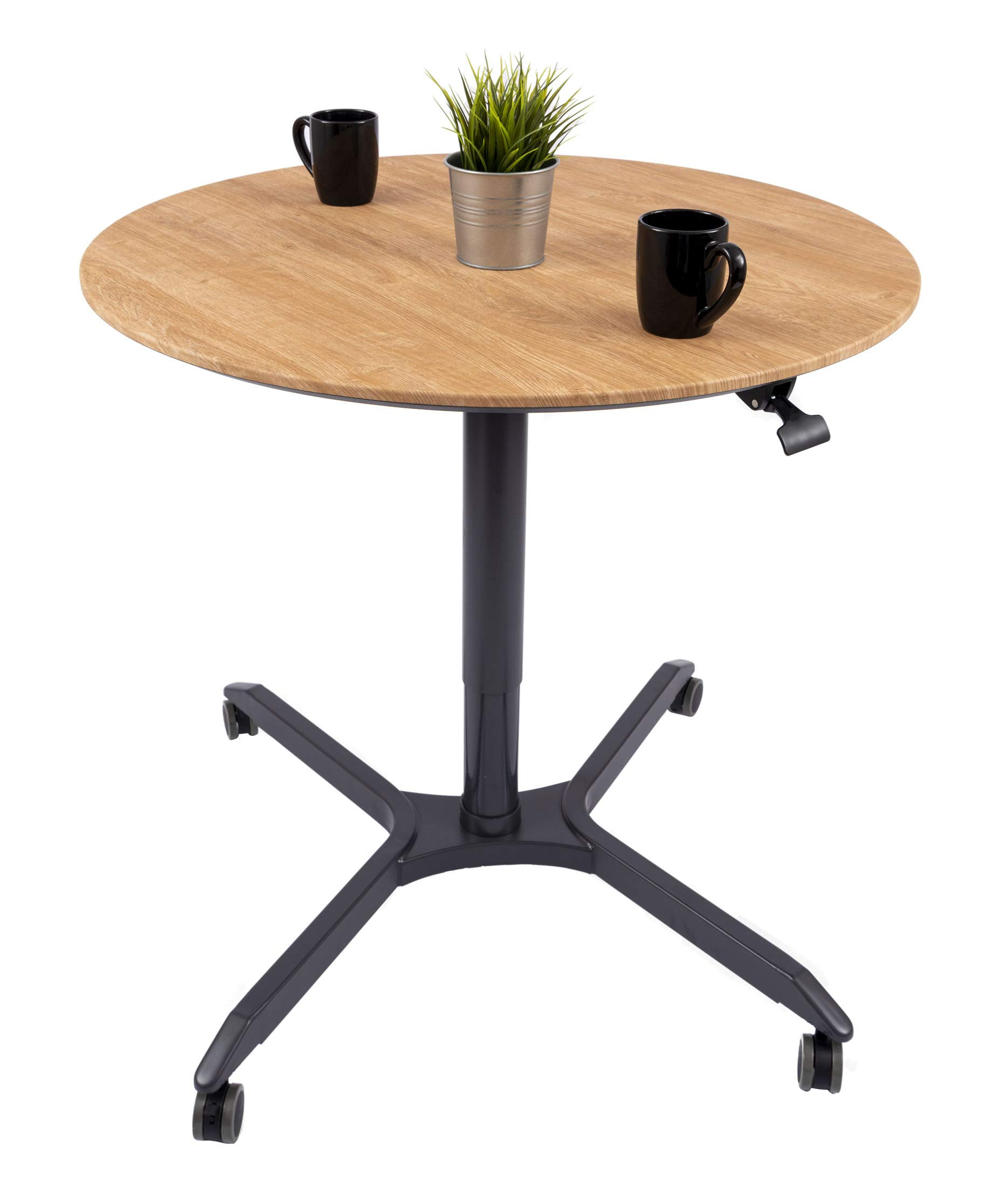 Pneumatic Adjustable-Height Cafe Table | Breakroom Table -(35'', Charcoal Frame/White Oak Top)