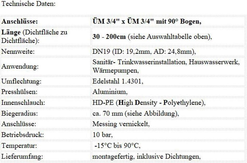 Schlauchl/änge:50cm DN19 TRINKWASSER deutscher Qualit/ätsschlauch! Sani-HiFlex Panzerschlauch Hauswasserwerk mit Edelstahl Umflechtung 3//4 /ÜM x 3//4 /ÜM mit Bogen
