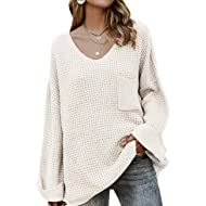 MEROKEETY Women's Long Sleeve Waffle Knit Sweater Crew Neck Solid Color Pullover Jumper Tops, B-White, L
