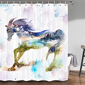 Horse Shower Curtain, Fashion Watercolor Ink Painting Animals Horse with Splash Swirl Artwork Bathroom Decor, Bathroom Accessories Set, Fabric Shower Curtain Set with Hooks, 70 in