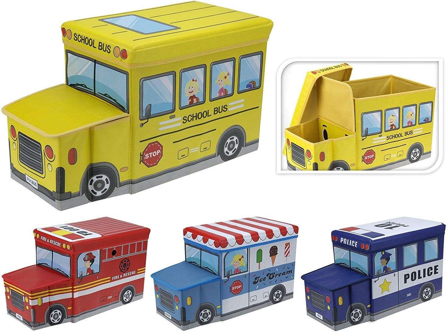 KOOPMAN Kids Toy Storage Play Torace da Pouf Sgabello Veicolo Box Tidy Fire Truck