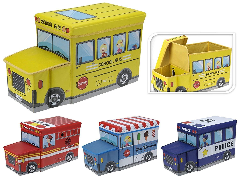 Unbekannt Kinder Spielzeug-Box, Truhe, Aufbewahrungsbox, Hocker, Zusammenklappbar, Fire Truck Koopman International