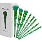 Becoyou Makeup Brushes set, 8 in 1 Green Contour brushes for Face Powder Foundation Concealer Eyeshadow Blush Cosmetics Blending Brush Tool