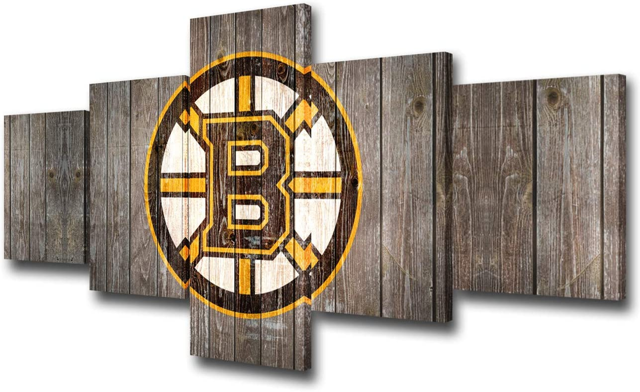 Boston Bruins Team Logo Picture for Living Room National Hockey League Canvas Wall Art Professional Puck Sports Prints Painting Home Decor Framed Stretched Ready to Hang 5 Panel(50Wx24H inches)