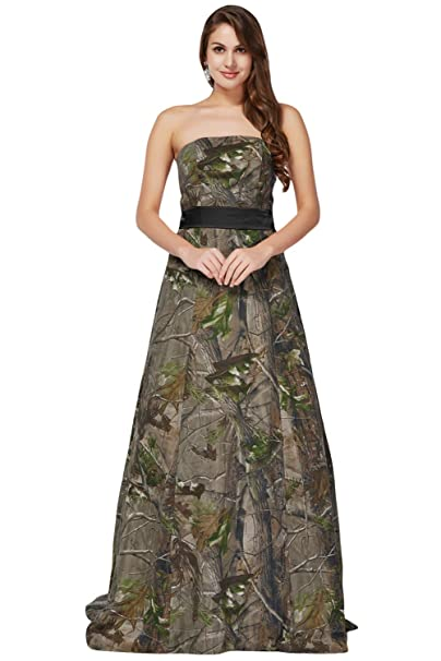 d3466ff846300 DINGZAN Floor Length Mother The Bride Dresses Military Evening Gown Camo 2  Black