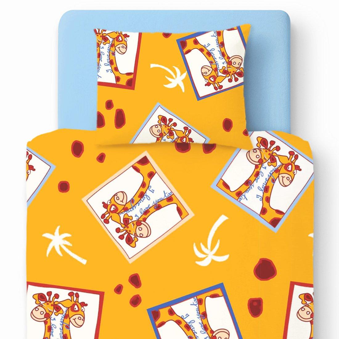 Girafes - Pati'Chou 100% Coton Linge de lit pour bébé (Taie d'oreiller et Housse de couette 80x120 cm) SoulBedroom