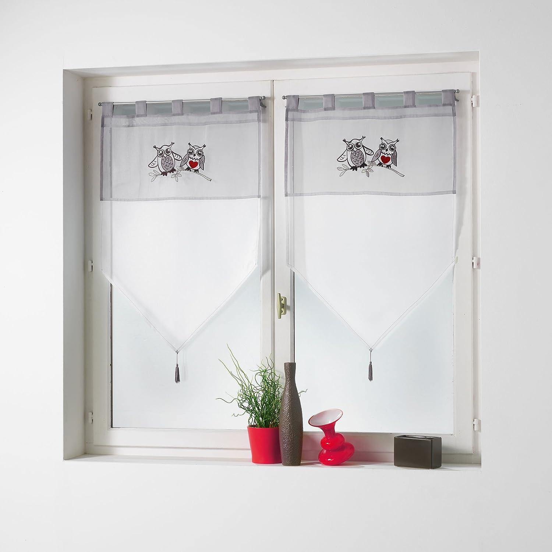 Le Jardin des Cigales Paire Pompon passants Polyester Rose 2 x 60 x 90 cm