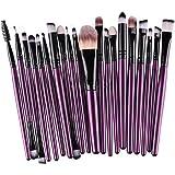 Kolight20 Pcs Pro Makeup Set Powder Foundation Eyeshadow Eyeliner Lip Cosmetic Brushes (Purple+Black)
